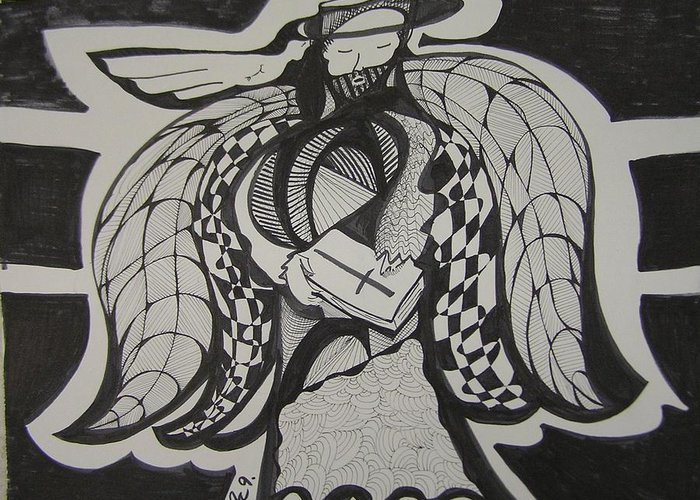 Angel Greeting Card featuring the drawing Angel Receiving Prayer by Jimmy King