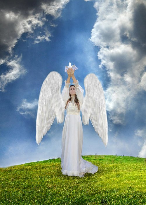 Angel Greeting Card featuring the photograph Angel Releasing A Dove by Jill Battaglia