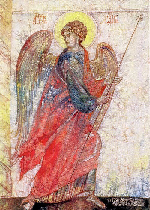 Contemporary Art Greeting Card featuring the painting Angel by Tanya Ilyakhova