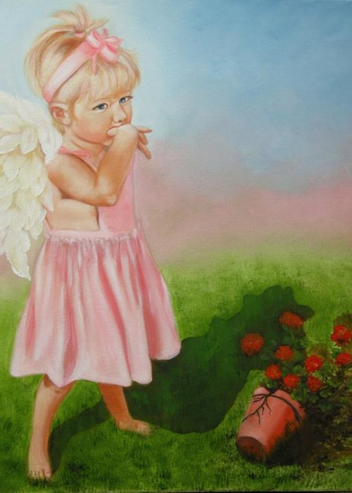 Angel Greeting Card featuring the painting Angel Thumbs by Joni McPherson