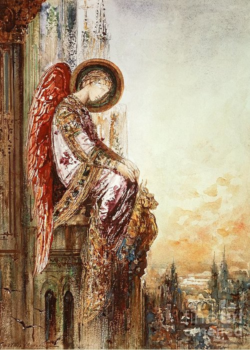 Watercolor Greeting Card featuring the painting Angel Traveller by Gustave Moreau