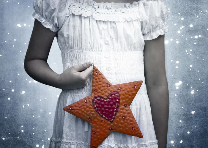 Girl Greeting Card featuring the photograph Angel With A Star by Joana Kruse