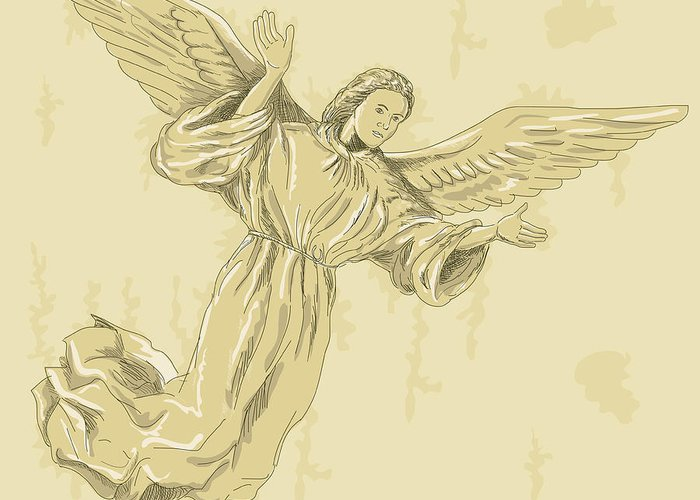 Angel Greeting Card featuring the digital art Angel With Arms Spread by Aloysius Patrimonio