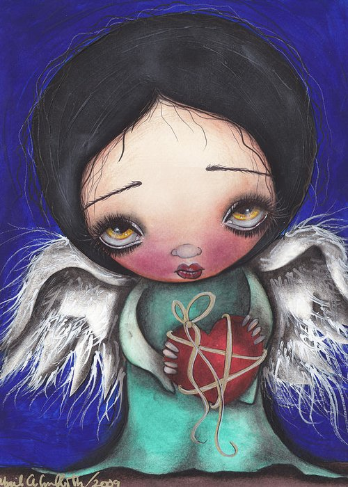 Angel Greeting Card featuring the painting Angel With Heart by Abril Andrade Griffith
