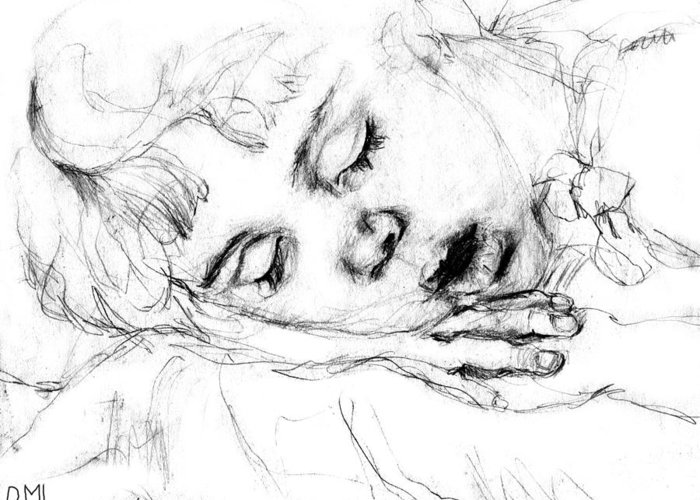 Sleeping Greeting Card featuring the drawing Angela by Diana Ludwig