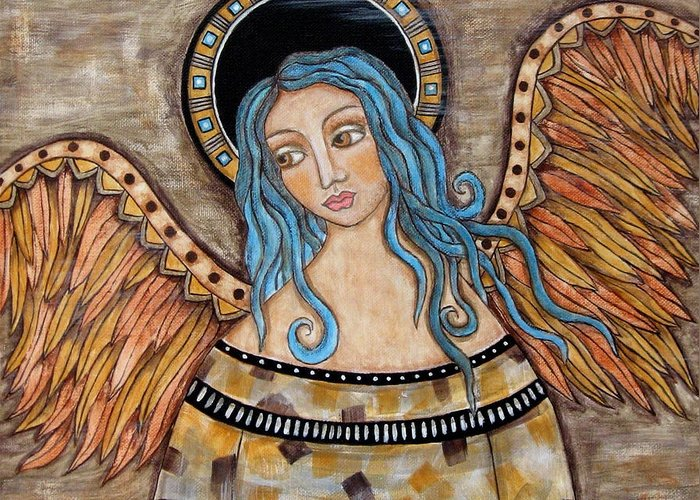 Greeting Card featuring the painting Angelica by Rain Ririn