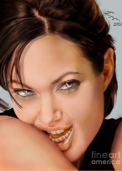 Actress Greeting Card featuring the painting Angelina Jolie - Cold Seduction by Reggie Duffie