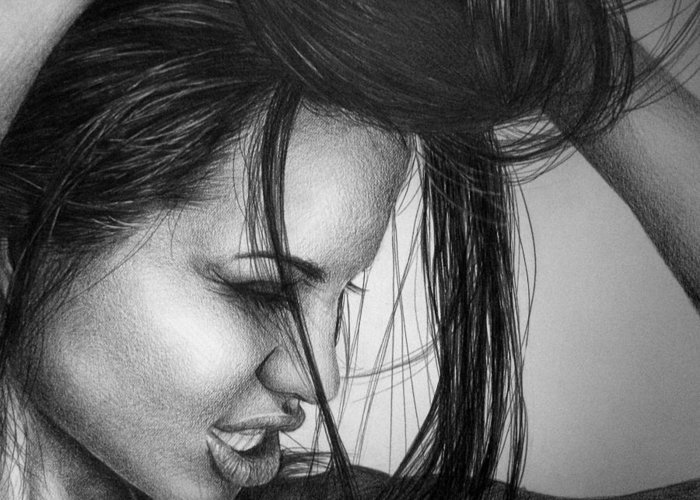Angelina Greeting Card featuring the drawing Angelina Jolie by Jennifer Bryant