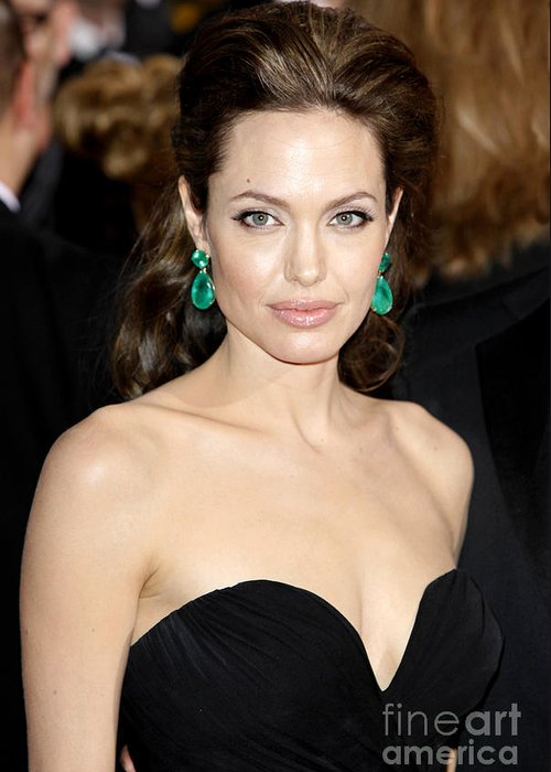 Angelina Jolie Greeting Card featuring the photograph Angelina Jolie by Nina Prommer