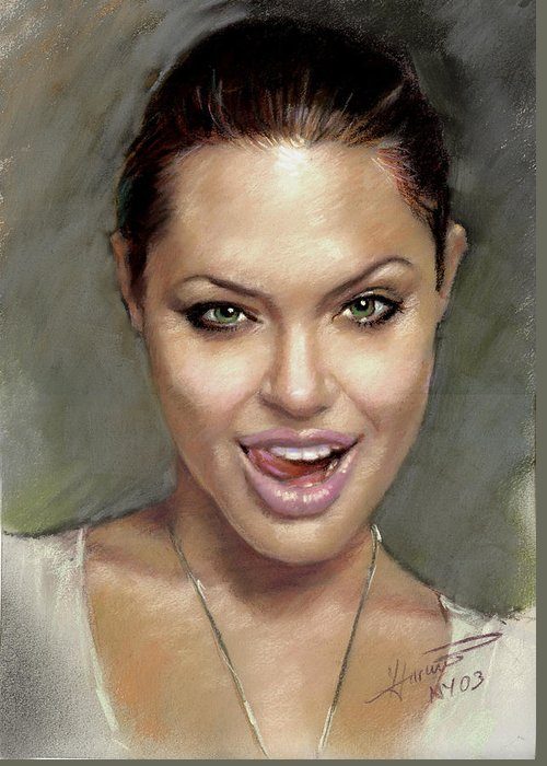 Angelina Jolie Greeting Card featuring the pastel Angelina Jolie by Ylli Haruni