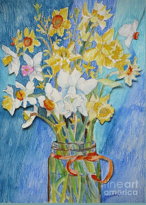 Flowers Greeting Card featuring the painting Angels Flowers by Jan Bennicoff