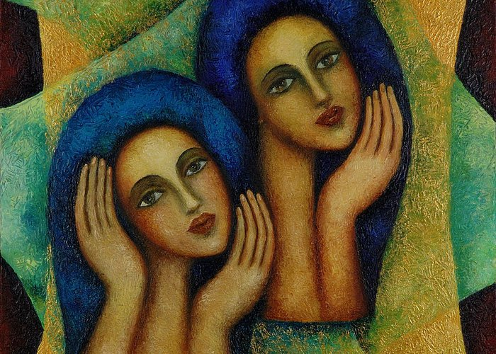 Angels Greeting Card featuring the painting Angels In Blue. by Evgenia Davidov