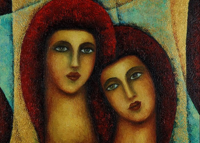 Angels Greeting Card featuring the painting Angels in Red. by Evgenia Davidov