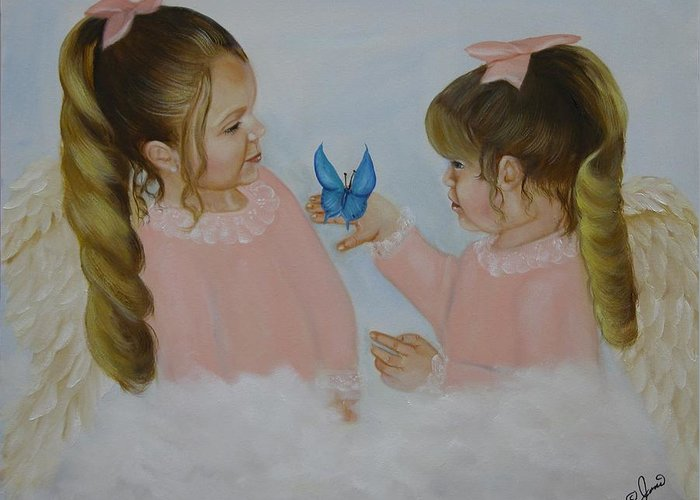 Oil Paintings Greeting Card featuring the painting Angels With Wings by Joni McPherson