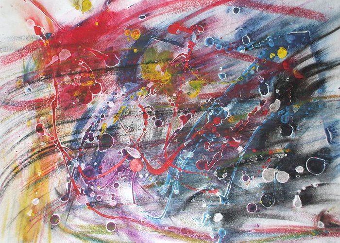 Abstract Greeting Card featuring the pastel Anger And Pain by Sam Persons