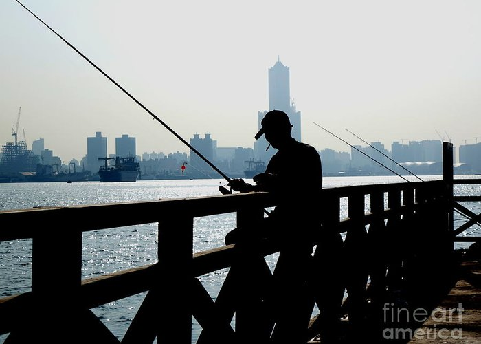 Kaohsiung Greeting Card featuring the photograph Angler In The Port City Of Kaohsiung by Yali Shi