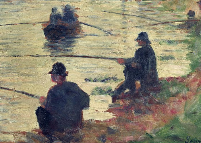 E Seurat (1859-91) Greeting Card featuring the painting Anglers by Georges Pierre Seurat