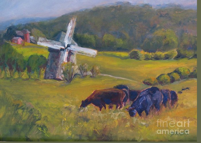 Art Greeting Card featuring the painting Angus On The Ridge by B Rossitto
