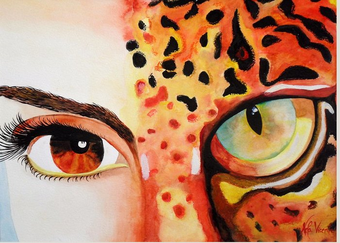 Animals Greeting Card featuring the painting Animal Soul by Nela Vicente