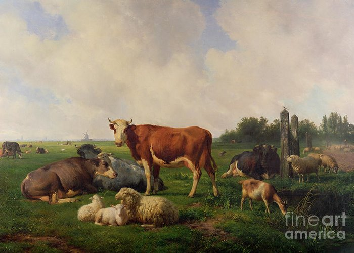 Animals Greeting Card featuring the painting Animals Grazing In A Meadow by Hendrikus van de Sende Baachyssun