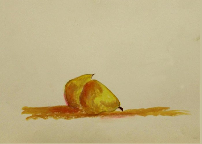 Fruit Greeting Card featuring the painting Anjou Pears by Michela Akers