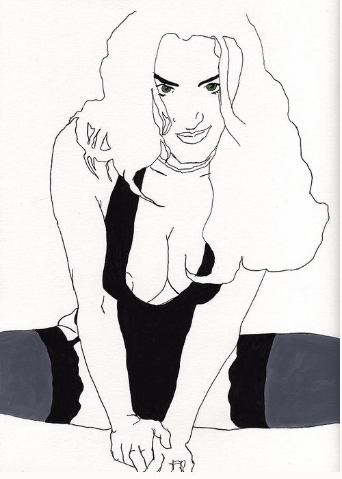 Portrait Greeting Card featuring the drawing Anna-black Stockings by Stephen Panoushek