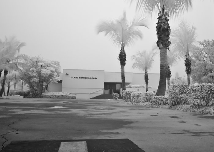 Anna Maria Island Greeting Card featuring the photograph Anna Maria Island Branch Library In Fog Infrared 50 by Rolf Bertram