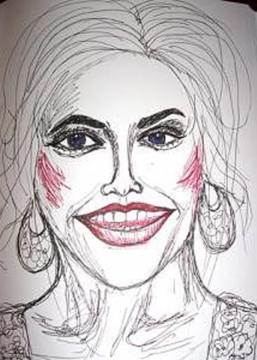 Anna Nicole Greeting Card featuring the drawing Anna Nicole Smith by Caroline Lifshey
