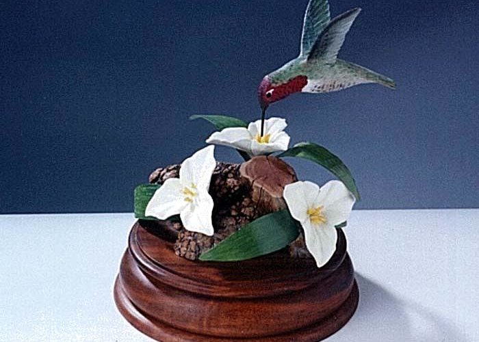 Anna's Humming Bird Greeting Card featuring the sculpture Anna' S Humming Bird by Carl Capps