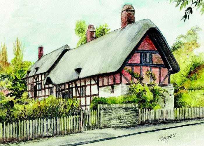 Anne Greeting Card featuring the painting Anne Hathaway Cottage England by Morgan Fitzsimons