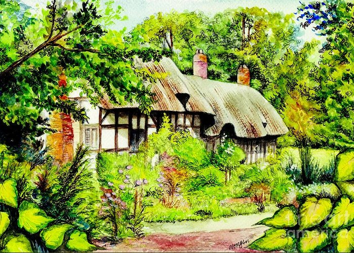 Anne Greeting Card featuring the painting Anne Hathaways Cottage by Morgan Fitzsimons