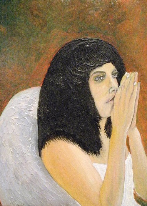 She Prays For All Mankind Greeting Card featuring the painting Annolita Praying by J Bauer