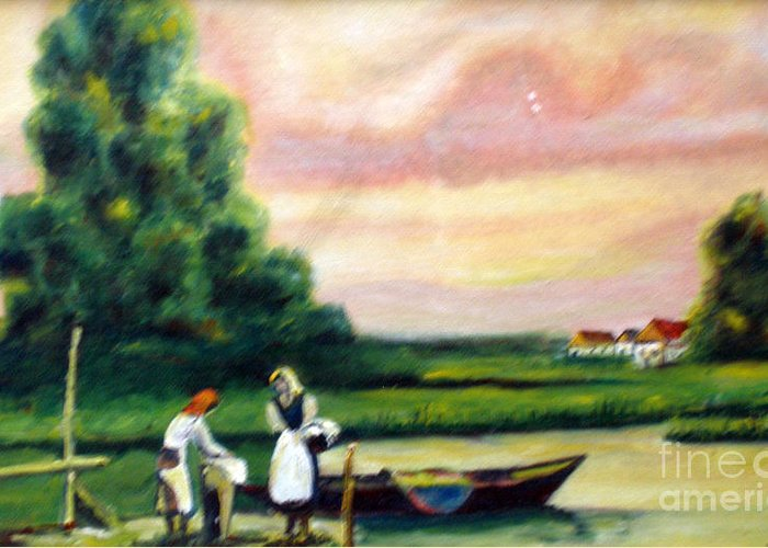 Vilage Greeting Card featuring the painting Another Day by Cilinha