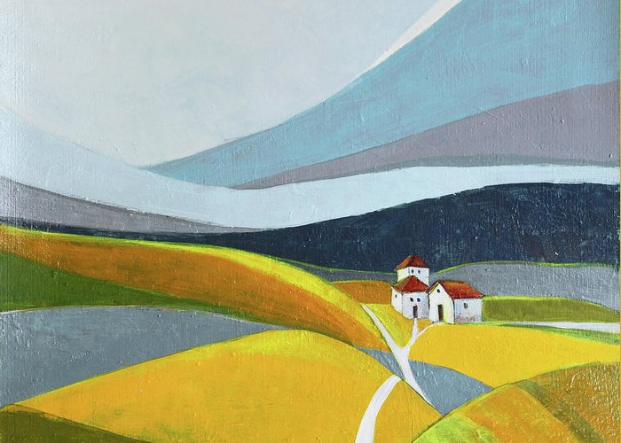 Landscape Greeting Card featuring the painting Another Day On The Farm by Aniko Hencz