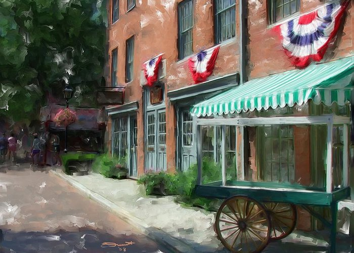 Painting Street Oil New England Market Tourist Vendor Impressionism Massachusetts Antiques Greeting Card featuring the painting Another Day's End by Eddie Durrett