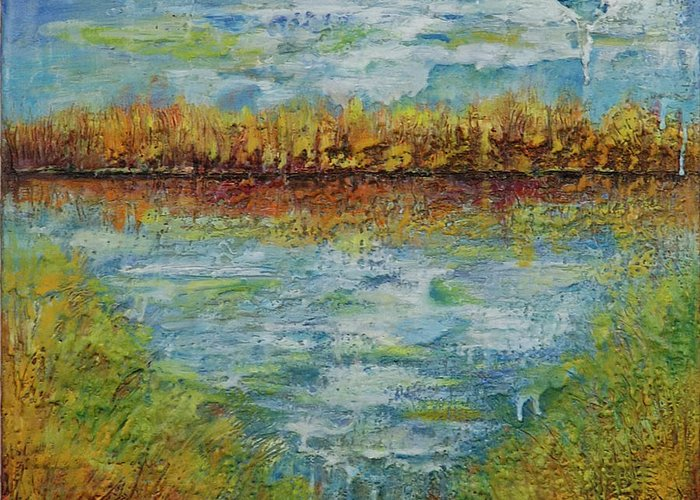 Water Greeting Card featuring the painting Another Lake. by Evgenia Davidov