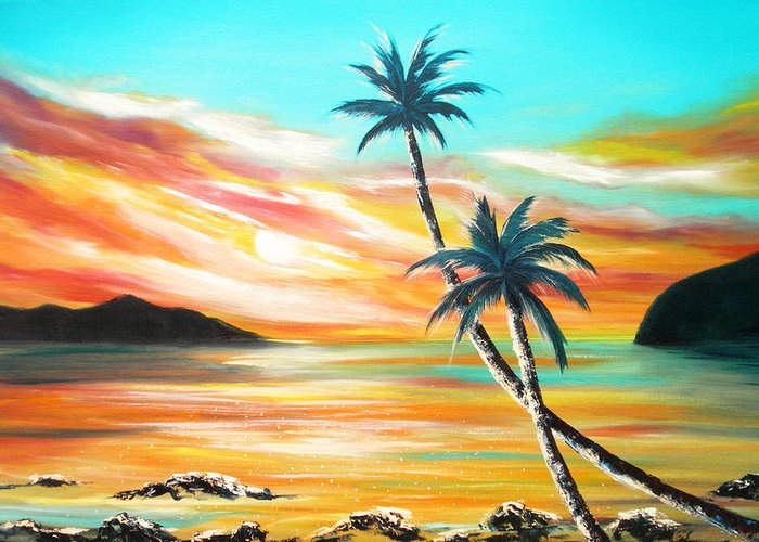 Sunset Greeting Card featuring the painting Another Sunset In Paradise by Gina De Gorna