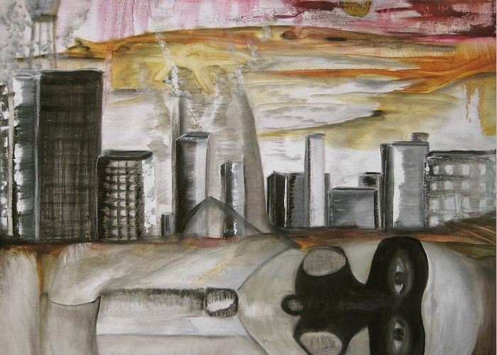 Apocalypse City End Futurism Inch Nails Nin Nine Oil Painting Times Year Zero Greeting Card featuring the painting Another Version Of The Truth by Darkest Artist