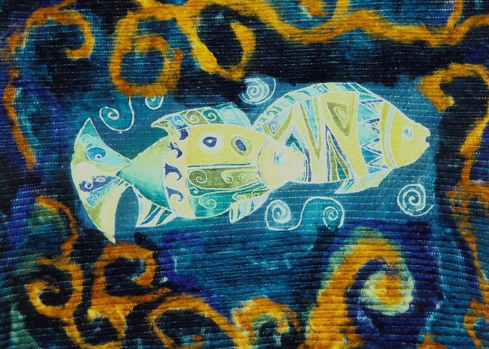 Fish Greeting Card featuring the tapestry - textile Another World by Aliza Souleyeva-Alexander