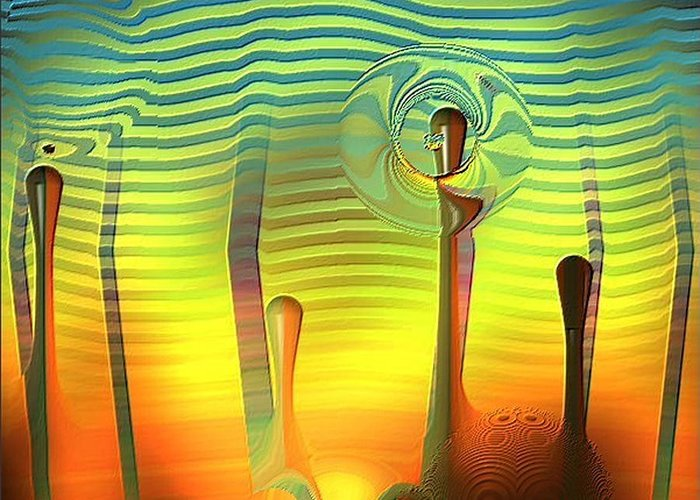 Beautiful Colorful Green Fantasy Greeting Card featuring the digital art Another World by Carola Ann-Margret Forsberg