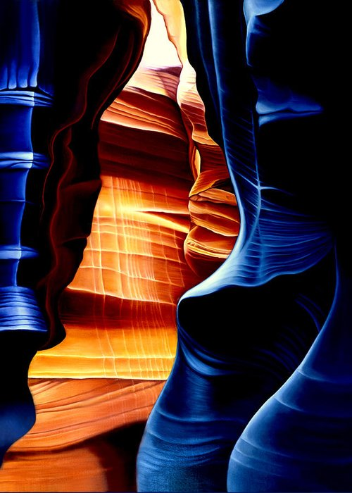 Landscape Greeting Card featuring the painting Antelope Canyon by Anni Adkins