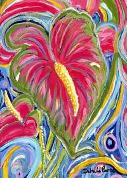 Antheriums Greeting Card featuring the painting Antheriums by Debra LaBar