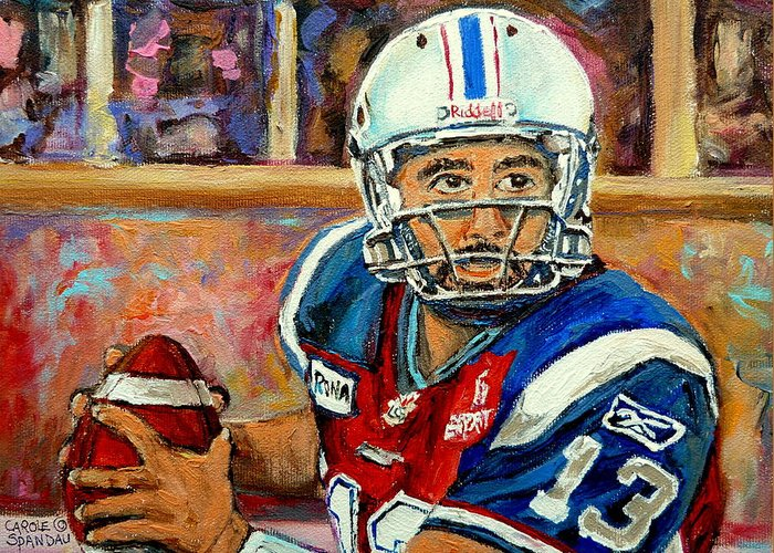 Anthony Calvillo Greeting Card featuring the painting Anthony Calvillo by Carole Spandau