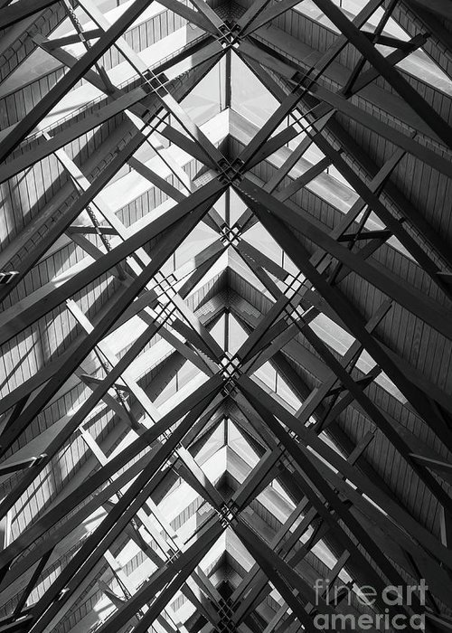 Abstract Greeting Card featuring the photograph Anthony Skylights Grayscale by Jennifer White
