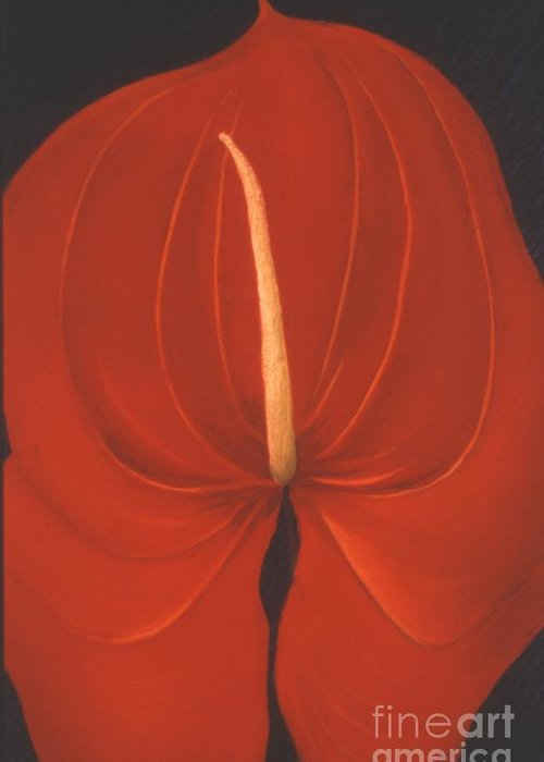 Anthurium Greeting Card featuring the painting Anthurium by Mary Erbert