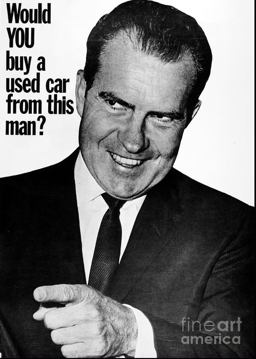 1960 Greeting Card featuring the photograph Anti-nixon Poster, 1960 by Granger