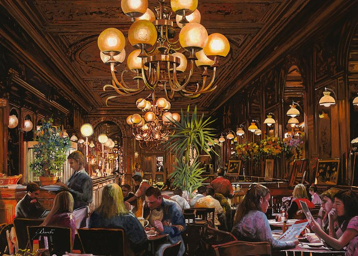 Brasserie Greeting Card featuring the painting Antica Brasserie by Guido Borelli