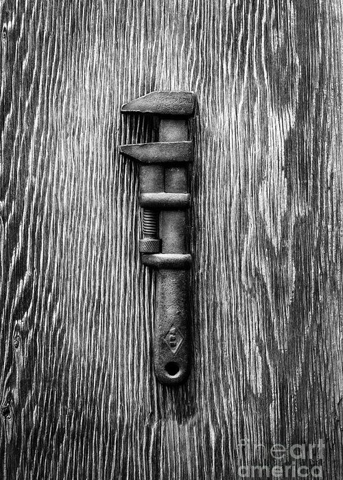 Antique Greeting Card featuring the photograph Antique Adjustable Wrench Bw by YoPedro