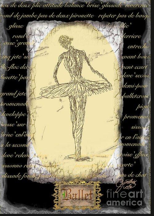 Ballet Greeting Card featuring the digital art Antique Ballet by Cynthia Sorensen