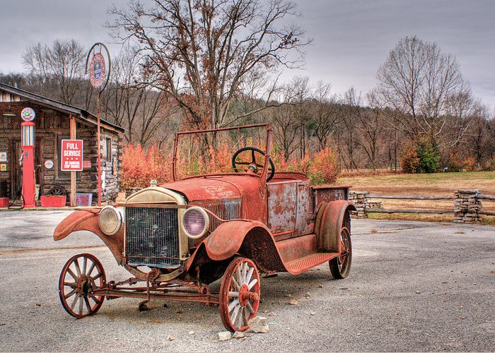 Antique Greeting Card featuring the photograph Antique Car And Filling Station 1 by Douglas Barnett
